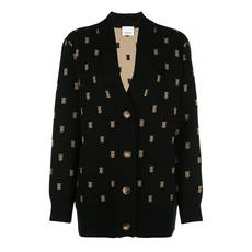 Burberry Monogram Wool Cashmere Blend Oversized Cardigan Black