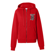 Burberry Monogram Motif Cotton Oversized Hoodie Bright Red