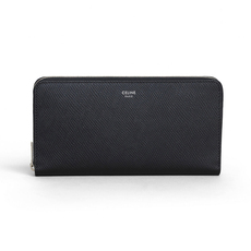 Celine Large In Grained Calfskin Zip Around Wallet Black/Sliver