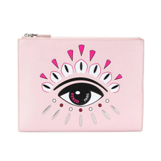 Kenzo Kontact Eyes A4 Clutch Bag Pastel Pink