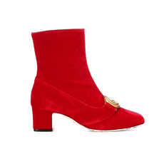 Gucci Gg Marmont Velvet Women's Boots Red