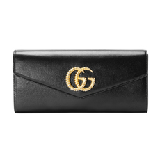 Gucci Double G With Broadway Leather Clutch Bag Black