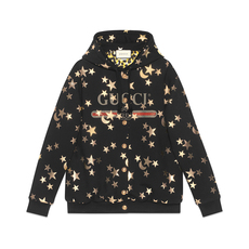Gucci Stars And Moon Print Hoodie Metallic Gold
