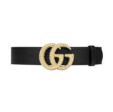 Gucci Double G With Textured Belt Black