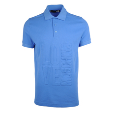 Love Moschino Embossed Logo Polo Tee Blue