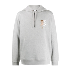 Burberry Hunter Logo Embroidered Hoodie Pale Grey