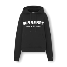 Burberry Logo Print Cotton Oversized Hoodie Black