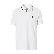 Burberry Icon Stripe Polo Tee White