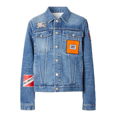 Burberry Logo Graphic Appliqué Denim Jacket Light Indigo Blue