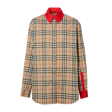 Burberry Contrast Trim Vintage Check Shirt Archive Beige