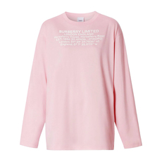 Burberry Long-Sleeve Location Print T-Shirt Candy Pink