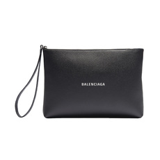 Balenciaga Cash Handle Gusset  Clutch Bag Black