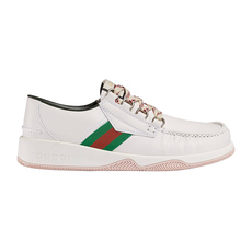 Gucci Leather Lace-Up Men's Sneakers White
