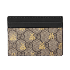 Gucci GG Supreme Bees Card Holder Beige/Ebony