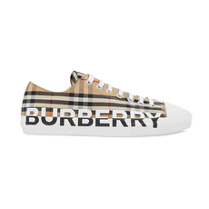 Burberry Logo Print Vintage Check Women's Sneakers Archire Beige