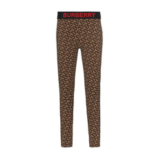 Burberry Monogram Print Stretch Jersey Leggings Bridle Brown