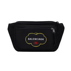 Balenciaga Green Logo Explorer Belt Bag Black