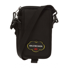Balenciaga Fruit Logo Explorer Crossbody Bag Black