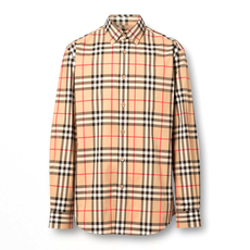 Burberry Check Cotton Poplin Shirt Archive Beige