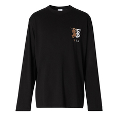 Burberry Long-Sleeve Contrast Logo Graphic Cotton T-Shirt Black