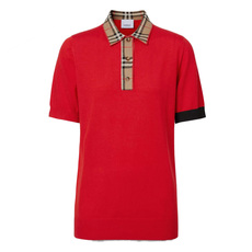 Burberry Vintage Check Trim Merino Wool Polo Tee Bright Red