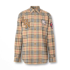 Burberry Classic Fit Logo Graphic Vintage Check Shirt Archive Beige