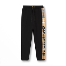 Burberry Vintage Check Panel Cotton Sweatpants Black
