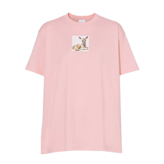 Burberry Deer Print Cotton T-Shirt Candy Pink