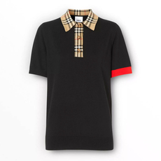 Burberry Vintage Check Trim Merino Wool Polo Tee Black