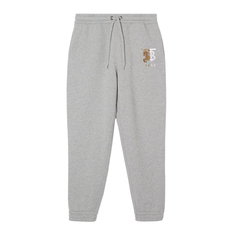 Burberry Contrast Logo Graphic Cotton Sweatpants Pale Gery Melange