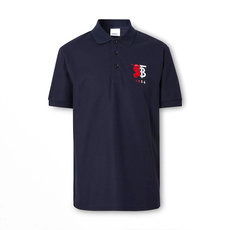 Burberry Contrast Logo Graphic Cotton Piqué Polo Tee Navy