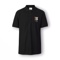 Burberry Contrast Logo Graphic Cotton Piqué Polo Tee Black