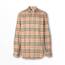 Burberry Icon Stripe Cuff Vintage Check Cotton Shirt Archive Beige