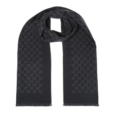 Gucci Double Jacquard GG Wool Scarf Grey