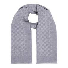 Gucci Double Jacquard GG Wool Scarf White