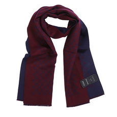 Gucci Double Jacquard GG Wool Scarf Bordeaux/Blue