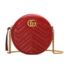 Gucci GG Marmont Mini Round Shoulder Bag Hibiscus Red