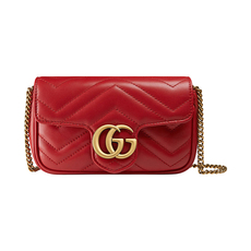 Gucci GG Marmont Matelasse Super Mini Shoulder Bag Hibiscus Red