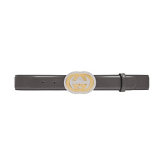 Gucci G Buckle With Interlocking Belt Dark Grey