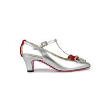 Gucci Flower Pattern Women's Heels Sliver