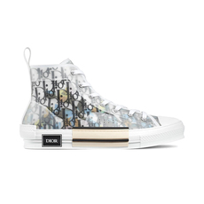 Dior Homme B23 Dior Oblique Printed With Dior & Alex Foxton Print High-Top Men's Sneakers White