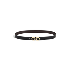 Salvatore Ferragamo Reversible And Adjustable Gancini Belt Black.Brown