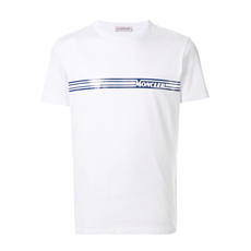 Moncler Shiny Laminated Stripes Graphic T-Shirt White