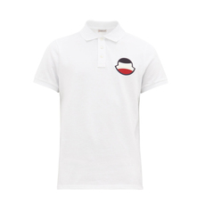 Moncler Chenille Stitch Embroidered Logo Polo Tee White