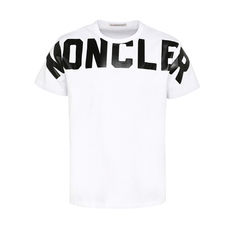 Moncler Matte Laminated Lettering Graphic T-Shirt White