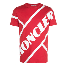 Moncler Matte Laminated Lettering Graphic T-Shirt Red