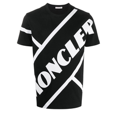 Moncler Matte Laminated Lettering Graphic T-Shirt Black