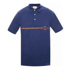 Gucci Gg Embroidery Polo Tee Blue