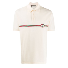Gucci Gg Embroidery Polo Tee Beige