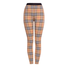 Burberry Logo Detail Vintage Check Leggings Antique Yellow